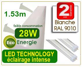 éclairage led 1.53 mètre équipé de tubes leds (prête à brancher)