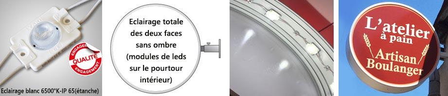 Enseigne ronde avec éclairage led basse consommation