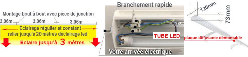 Eclairage led enseigne avec une rangée de tubes led - Branchement facile et rapide