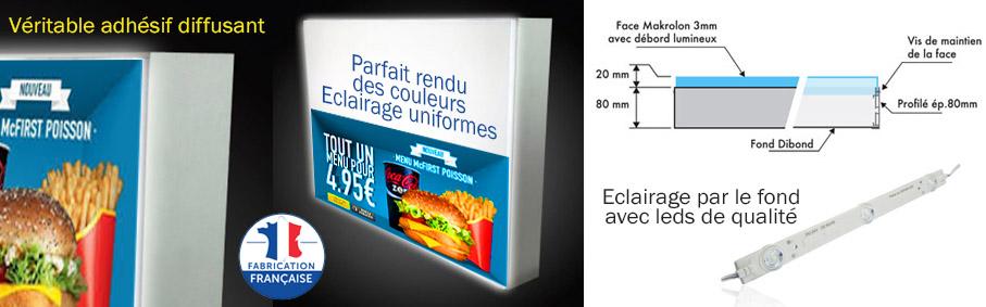 Caisson led lumineux, menus board, menu board, caisson lumineu de qualité avec protection solaire (usage intérieur ou extérieur)