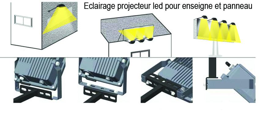 Eclairage de votre façade, panneaux, enseignes avec projecteurs