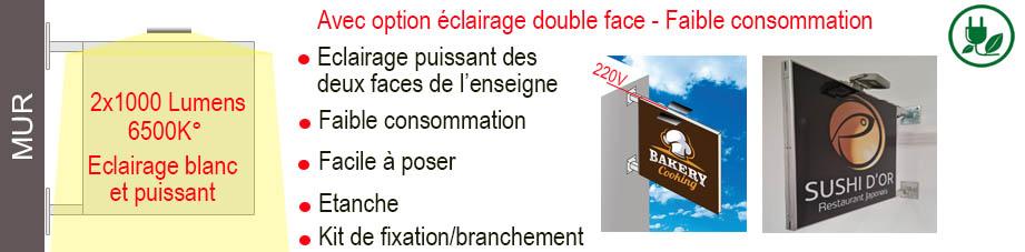 Enseigne ultra-plate avec double éclairage led basse consommation